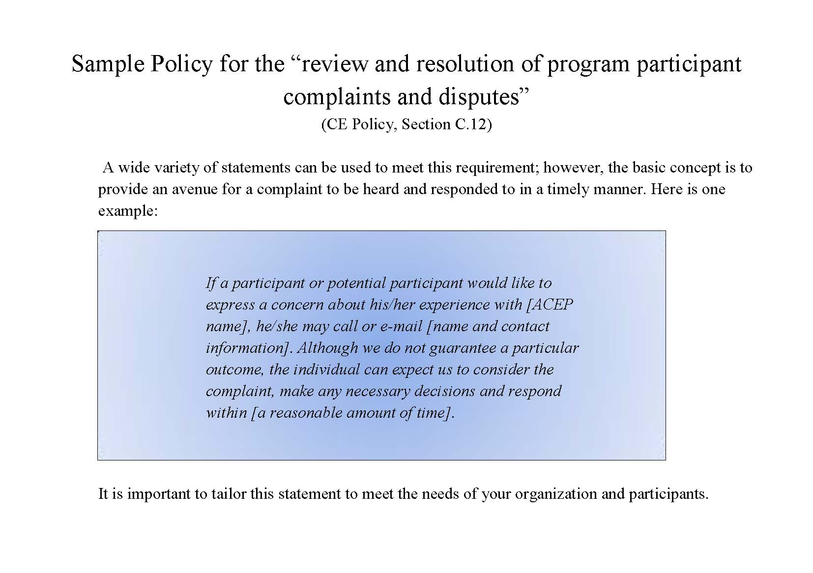 Policy for Complaints